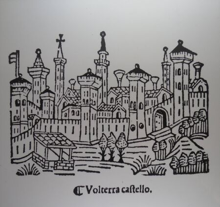 volterra: VOLTERRA, ITALY - CIRCA DECEMBER 2014: XVI century woodcut showing the fortified medieval town of Volterra (Volterra castello, i.e. the Castle of Volterra) Editorial