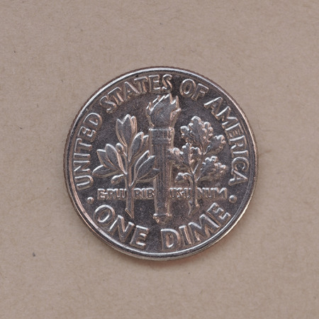 dime: one dime (10 cent USD) coin