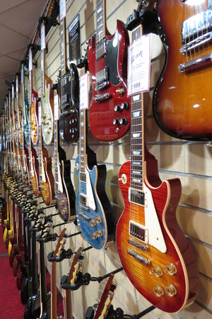 amplified: YORK, UK - CIRCA AUGUST 2015: electric guitar for sale