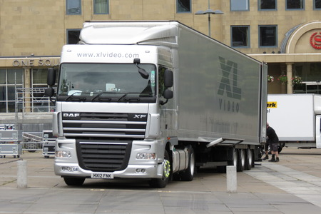 forwarding: EDINBURGH, UK - CIRCA AUGUST 2015: Long lorry with truck and trailer Editorial