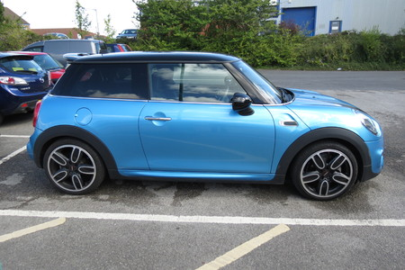 onwards: YORK, UK - CIRCA AUGUST 2015: blue Mini Cooper car new model, produced from 2013 onwards Editorial
