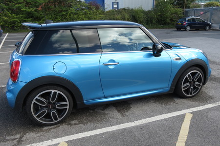produced: YORK, UK - CIRCA AUGUST 2015: blue Mini Cooper car (new model, produced from 2013 onwards) Editorial
