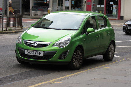 EDINBURGH, SCOTLAND, UK - CIRCA AUGUST 2015: green Vauxhall Astra car in a street of the city centre.