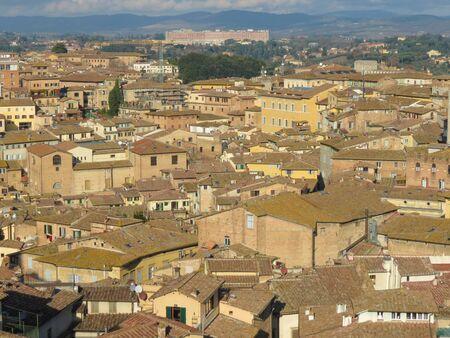 crossway: Siena, Italian medieval town - bird eye view of the city centre Stock Photo
