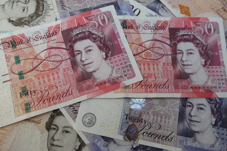 comp: LONDON, UK - CIRCA JULY 2015: British Sterling Pound notes, currency of the United Kingdom Editorial