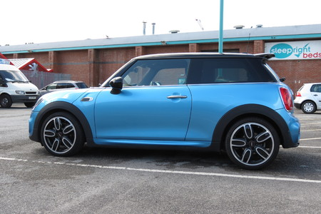 onwards: YORK, UK - CIRCA AUGUST 2015: blue Mini Cooper car (new model, produced from 2013 onwards) Editorial