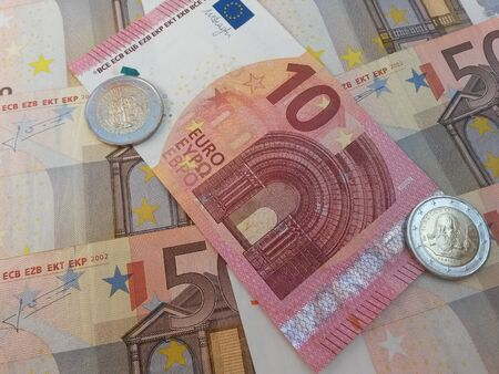eec: Euro banknotes and coins currency of the European Union Stock Photo