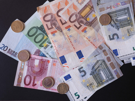 legal tender: Euro notes and coins EUR - Legal tender of the EU Stock Photo