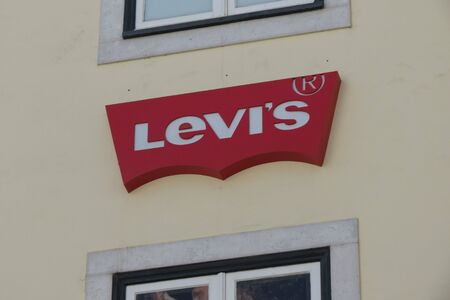 levis: LISBON, PORTUGAL - CIRCA JUNE 2015: Levis logo on the facade of the brand store