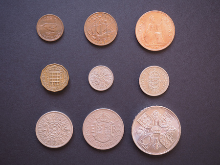 ie: LONDON, UK - CIRCA DECEMBER 2014: Full range of Predecimal British Pound coins, withdrawn on Decimal Day, i.e. 15 February 1971