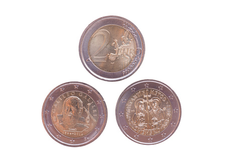eec: Commemorative 2 EUR coins currency of the European Union, bearing the portrait of Galileo Galilei (Italy 2014) and Cyril and Methodius (Slovakia 2013)