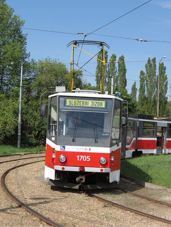 circa: BRNO, CZECK REPUBLIC- CIRCA MAY 2012: Tramway train for public transport mass transit Editorial