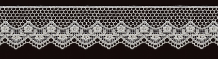 floreal: bridal floral white lace band isolated over black background