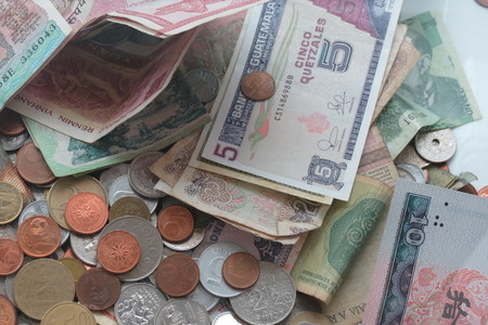 especially: Mixed currency from Europe, especially Euro coins, and other countries such as Hungary, Serbia, India Stock Photo
