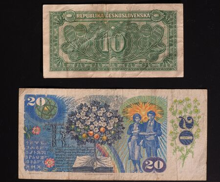 denomination: banknotes from former Czechoslovakia - now withdrawn - 10 CSK from the 1950s (denomination written in Slovak) and 20 CSK from the 1980s