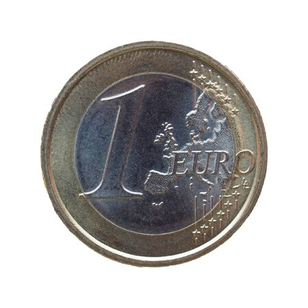 legal tender: One euro (EUR) coin - legal tender of the EU - isolated over white background