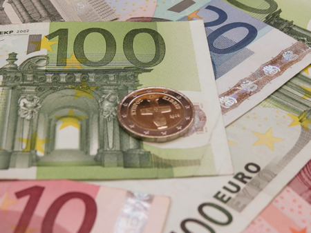 eur: Euro EUR banknotes and coins from Cyprus