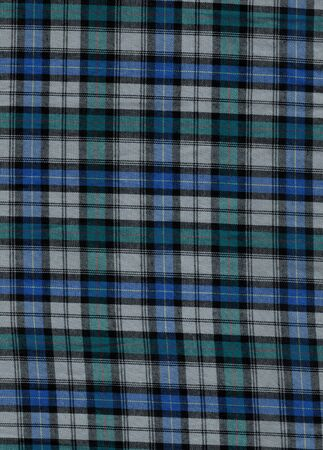 bedcover: Blue and green tartan cotton fabric Stock Photo