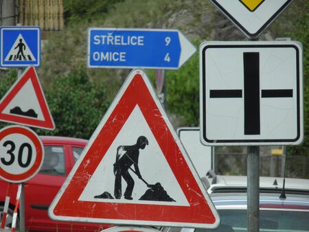 road works: Warning signs, Road works traffic sign Stock Photo