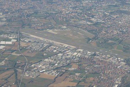 al: Orio al Serio Caravaggio airport seen from above Stock Photo