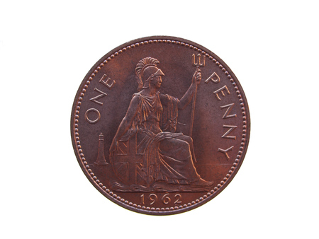 gbp: one penny coin (GBP) released in 1962