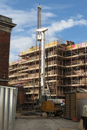 yorkshire and humber: YORK, UK - CIRCA AUGUST 2015: Temporary scaffold for construction works at building site