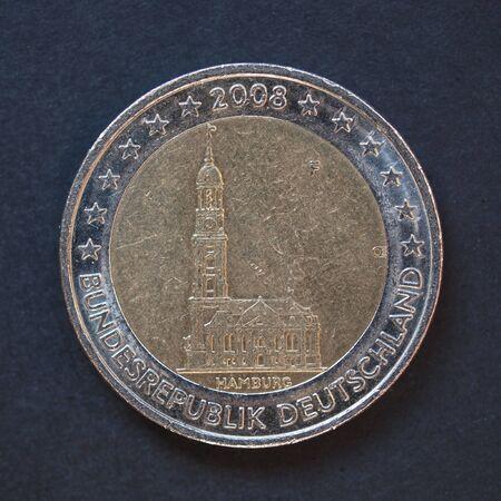 commemorative: Commemorative 2 Euro coin Germany 2008 - Hamburg over black background