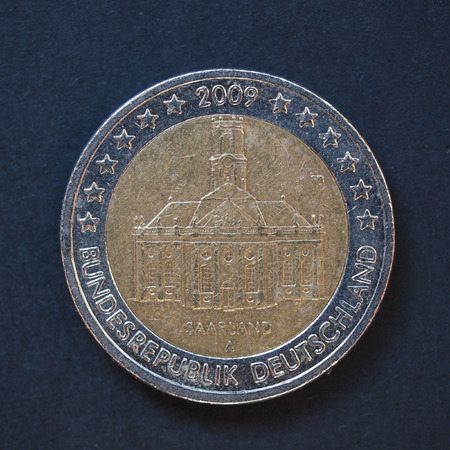 commemorative: Commemorative 2 Euro coin Germany 2009 - Saarland over black background