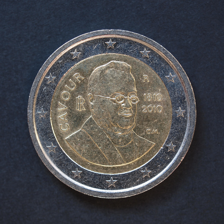 camillo: Commemorative 2 Euro coin Italy 2010 - Camillo Benso di Cavour anniversary over black background