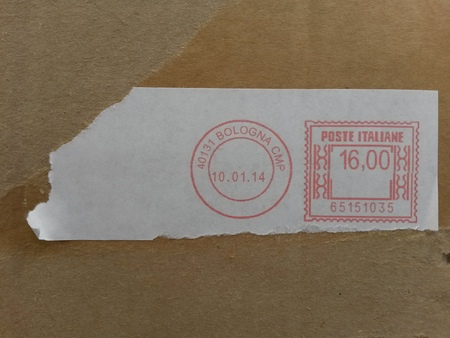 cancellation: BOLOGNA, ITALY - CIRCA APRIL 2015: Postage meter used for stamp cancellation on letters Editorial