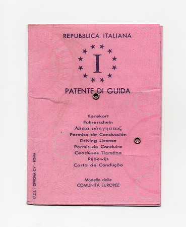 licence: ROME, ITALY - CIRCA DECEMBER 2015: Italian Patente Di Guida meaning Driving licence document Editorial