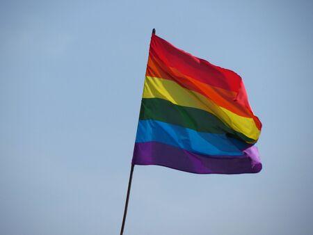 bisexual: Gay, lesbian, bisexual, transgender pride flag floating in the air