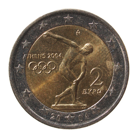 commemorative: Commemorative 2 Euro coin Greece 2004 - Oympic games in Athens isolated over white background