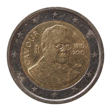 cavour: Commemorative 2 Euro coin Italy 2010 - Camillo Benso di Cavour anniversary isolated over white background
