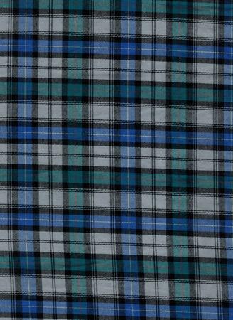 Blue and green tartan cotton fabric Stock Photo
