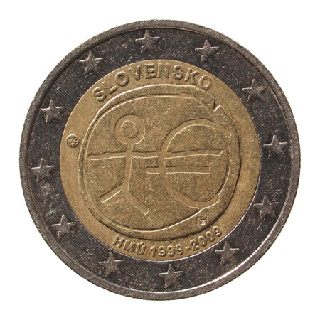 commemorative: Commemorative 2 Euro coin (Slovakia 2009 - 10th anniversary of Euro currency circulating) isolated over white background