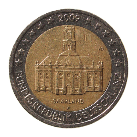 commemorative: Commemorative 2 Euro coin (Germany 2009 - Saarland) isolated over white background