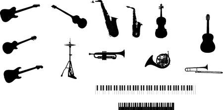 various musical instruments - isolated vector illustration Vektoros illusztráció