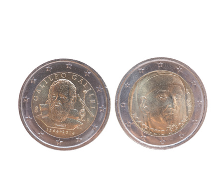 eec: Commemorative 2 EUR coins currency of the European Union, bearing the portrait of Giovanni Boccaccio (Italy 2013) and Galileo Galilei (Italy 2014) Stock Photo