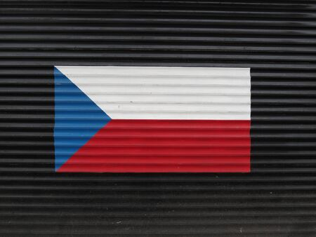 corrugated steel: Flag of the Czech Republic painted on corrugated steel surface Stock Photo