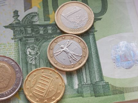 eur: Euro EUR banknotes and coins money useful as a background or money concept