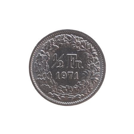 franc: Half Swiss Franc coin from Switzerland