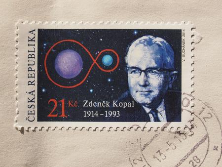 astronomer: PRAGUE, CZECH REPUBLIC - CIRCA DECEMBER 2015: stamp from the Czech Republic celebrating the 100th anniversary of Czech astronomer Zdenek Kopal