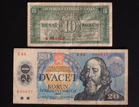 withdrawn: banknotes from former Czechoslovakia - now withdrawn - 10 CSK from the 1950s (denomination written in Slovak) and 20 CSK from the 1980s