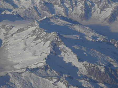 mountain peek: Alps mountains with snow in Austria - aerial view