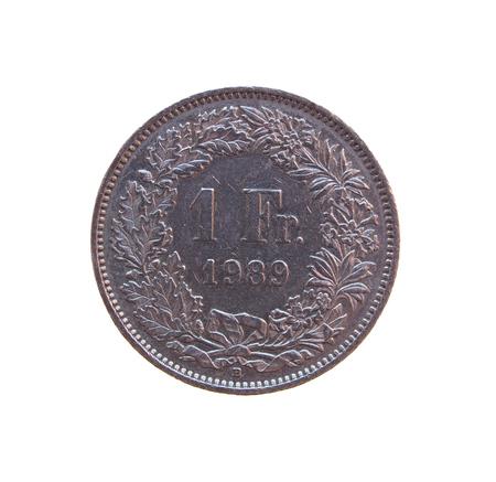 helvetia: One Swiss Franc coin from Switzerland Stock Photo