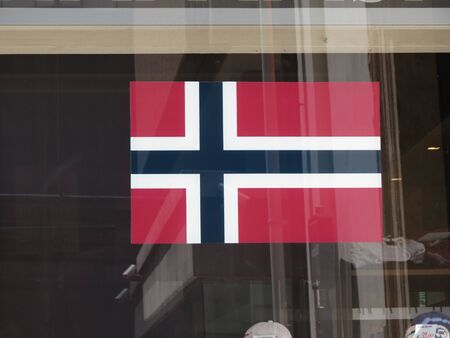 norway flag: Norwegian flag from Norway useful as nation or lanague icon Stock Photo