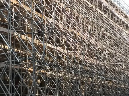 Temporary scaffold for construction works at building site
