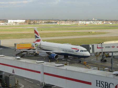airways: LONDON HEATHROW, UK - CIRCA DECEMBER 2014: An aircraft of the British Airways parked at the airport