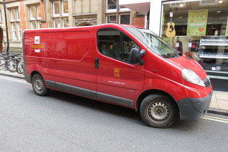 royal mail: YORK, UK - CIRCA AUGUST 2015: Royal Mail van parked in a street of the city centre.